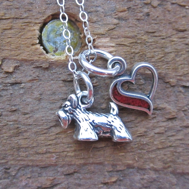 Scottish Terrier In My Heart Mini Sterling Silver Necklace