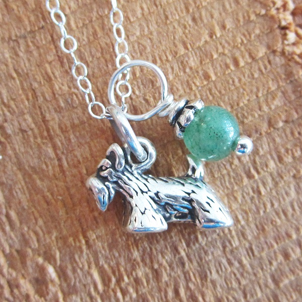Scottish Terrier Glass Bead Sterling Silver Necklace