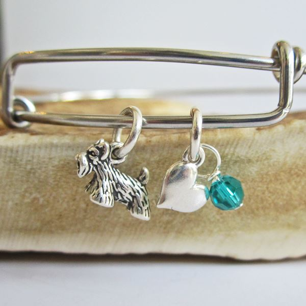 "Scottish Terrier Mini Heart Stackable Bangle Bracelet (2.5""-3\"")"