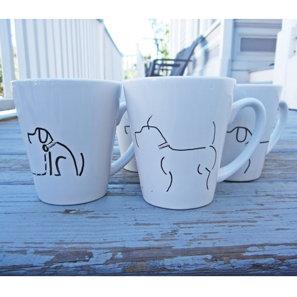 Set of All Four Handpainted Dog 12oz. Mugs