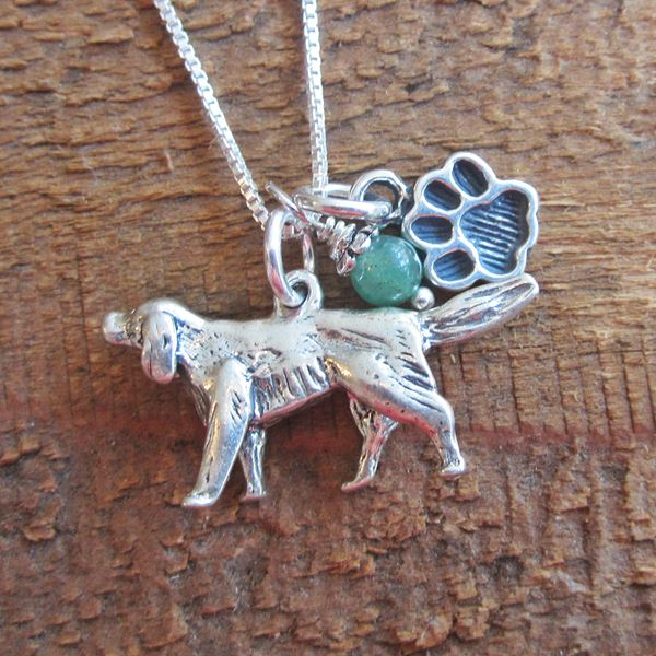 Golden Retriever Paw Print Sterling Silver Necklace (large)