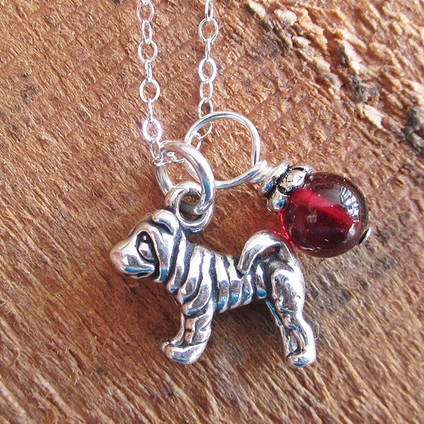 Shar-Pei Glass Bead Sterling Silver Necklace