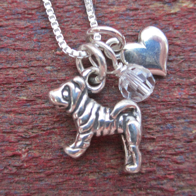 Shar-Pei Mini Heart Sterling Silver Necklace