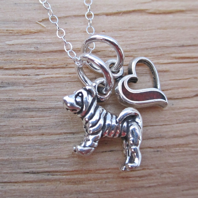 Shar-Pei In My Heart Mini Sterling Silver Necklace