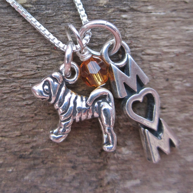 Shar-Pei Mom Mini Sterling Silver Necklace