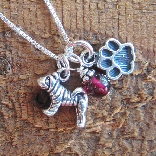 Shar-Pei Mini Paw Print Sterling Silver Necklace