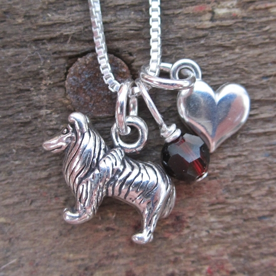 Sheltie Mini Heart Sterling Silver Necklace