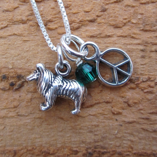 Sheltie Mini Peace Sterling Silver Necklace