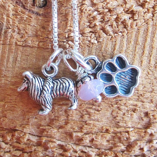 Sheltie Mini Paw Print Sterling Silver Necklace