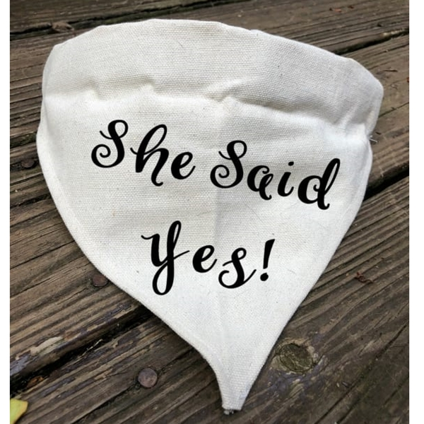 She Said Yes Canvas Dog Bandana