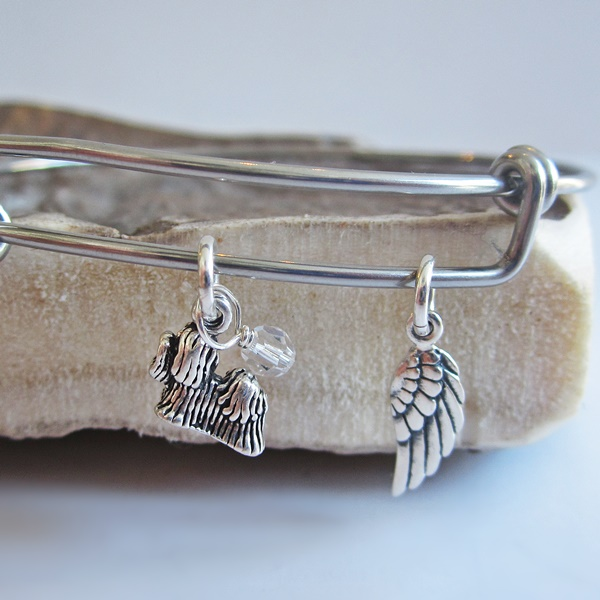 Shih Tzu Mini Angel Wing Stackable Bangle Bracelet
