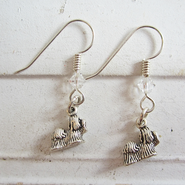 Shih Tzu Sterling Silver Earrings
