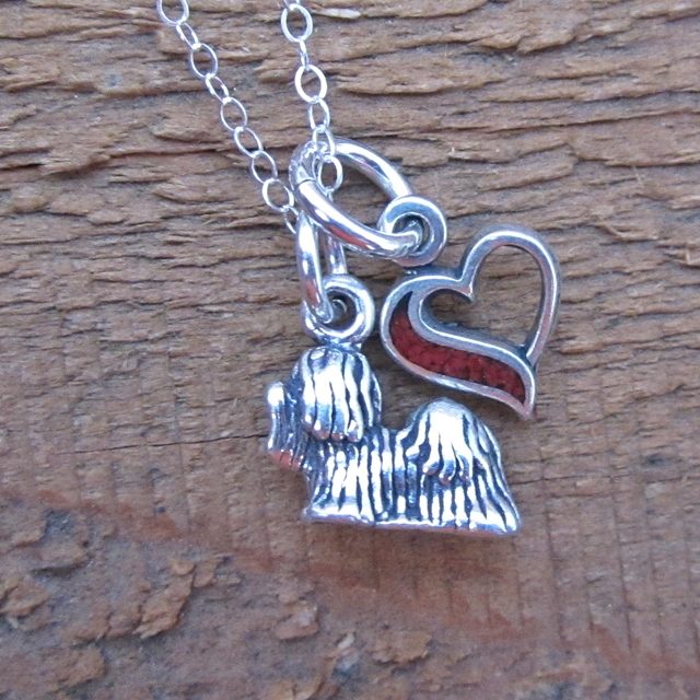 Shih Tzu In My Heart Mini Sterling Silver Necklace