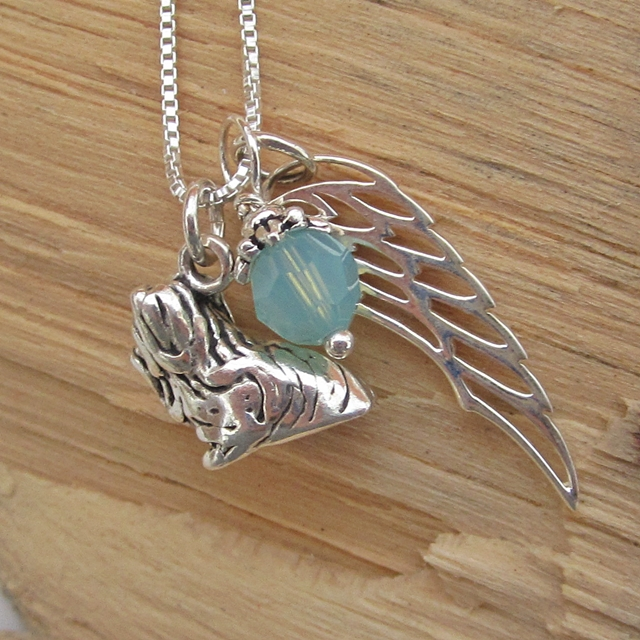 Shih Tzu Large Angel Wing Sterling Silver Necklace