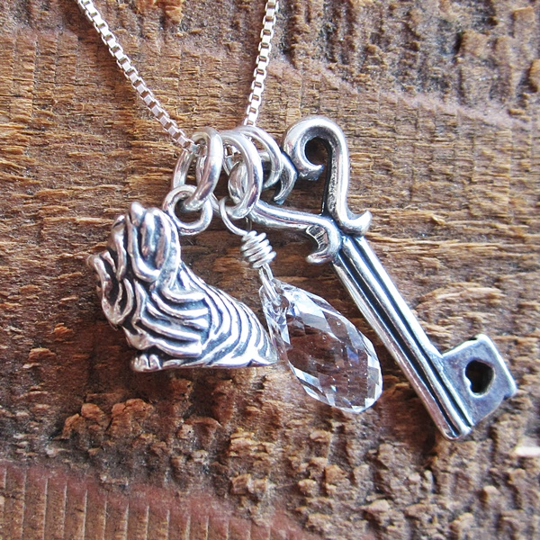 Shih Tzu Large Key To My Heart Sterling Silver Necklace
