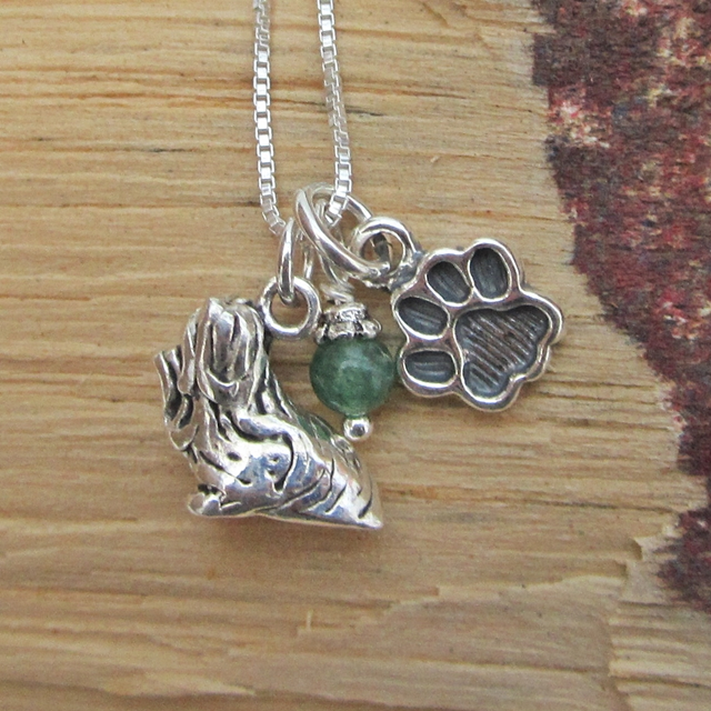 Shih Tzu Paw Print Sterling Silver Necklace (large)