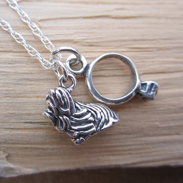 Shih Tzu Engagement Ring Large Sterling Silver Necklace