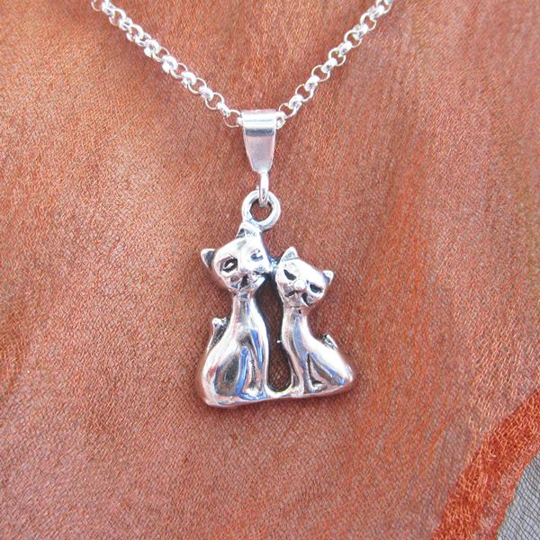 Siamese Cats Mini Pendant Charm and Necklace