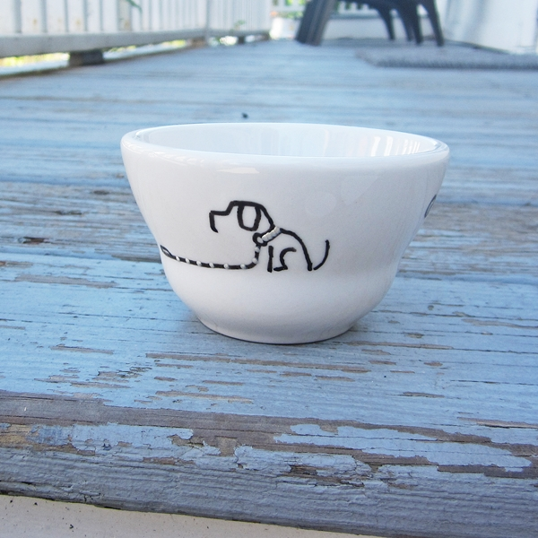 Sit Stay Handpainted Snack Bowl