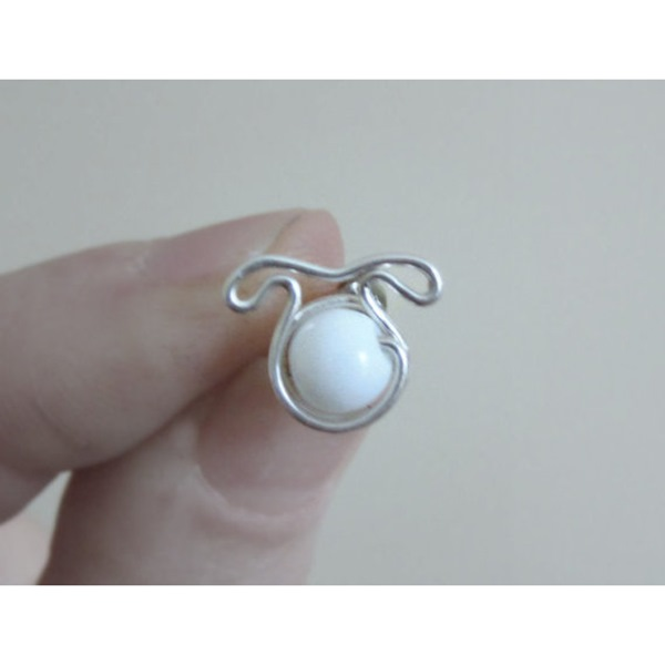 Snow Agate Dog Post Earrings - Sterling Silver