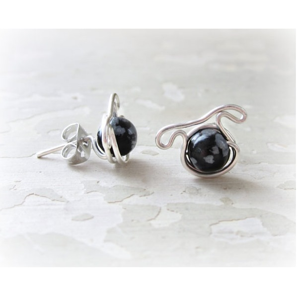 Snowflake Obsidian Dog Post Earrings - Sterling Silver