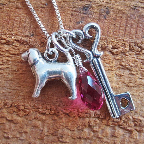 Spaniel Large Key To My Heart Sterling Silver Necklace