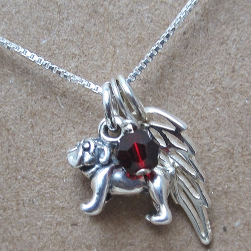 Bulldog Mini Angel Wing Sterling Silver Necklace