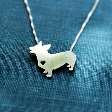 Pembroke Corgi Itty Bitty Sterling Silver Necklace