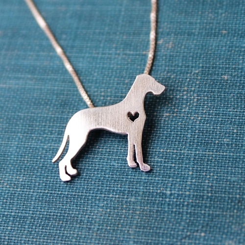 GDRA Sterling Silver Great Dane Itty Bitty Necklace (crop or nat