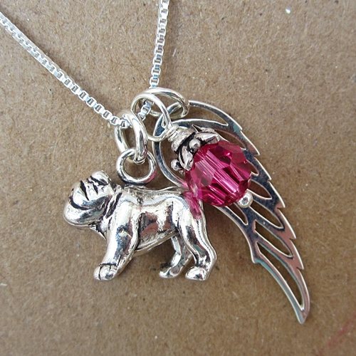 Bulldog Large Angel Wing Sterling Silver Necklace