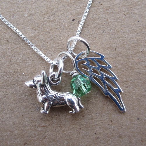 Corgi Mini Angel Wing Sterling Silver Necklace