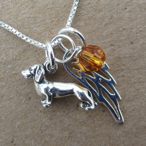 Dachshund Mini Angel Wing Sterling Silver Necklace