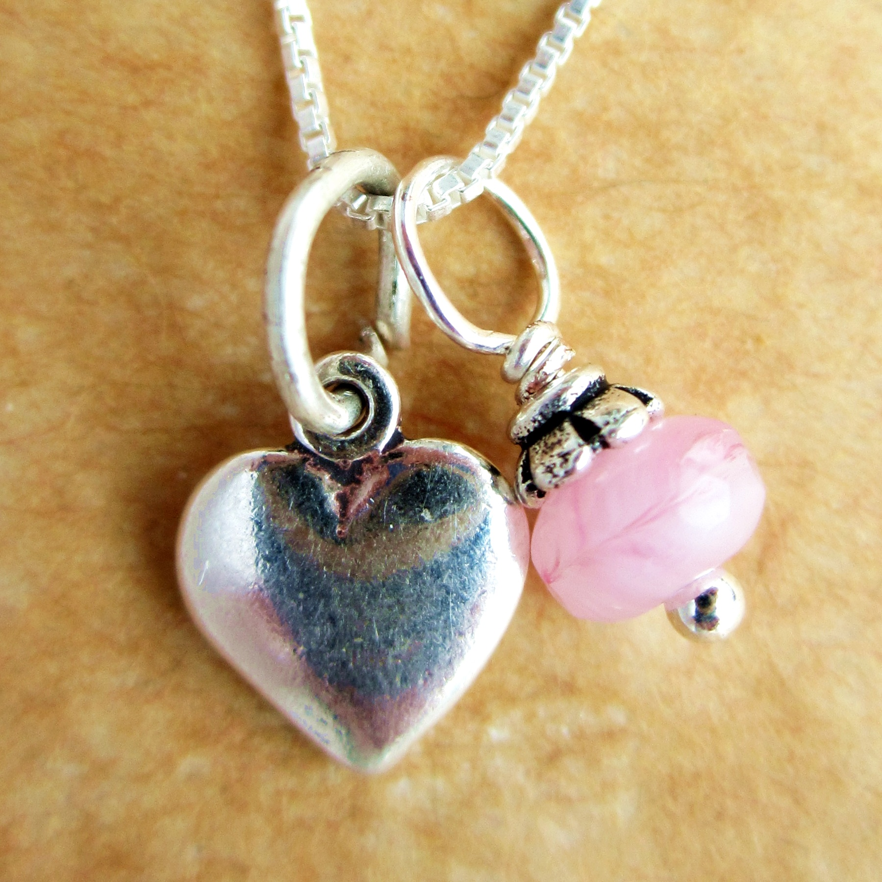 Heart Mini Pink Swirl Glass Sterling Silver Necklace
