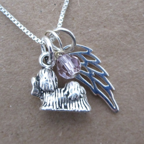 Shih Tzu Mini Angel Wing Sterling Silver Necklace