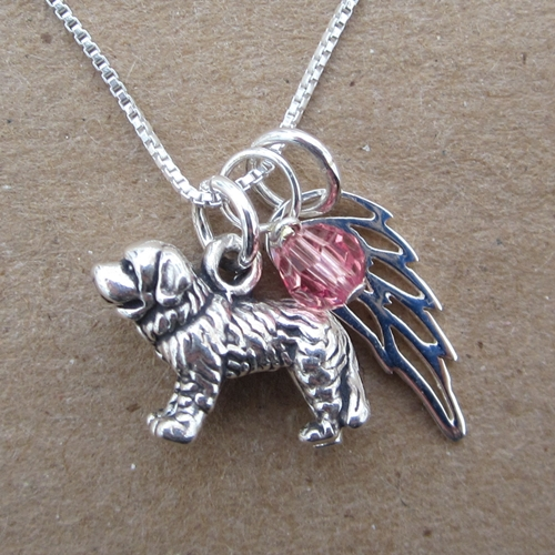 Saint Bernard Mini Angel Wing Sterling Silver Necklace