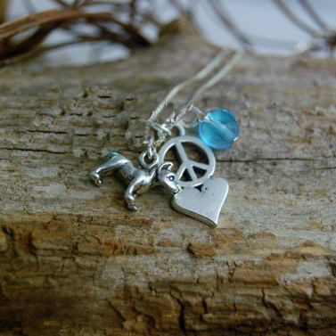 Sterling Silver Peace, Love and Pit Bull Charm Necklace