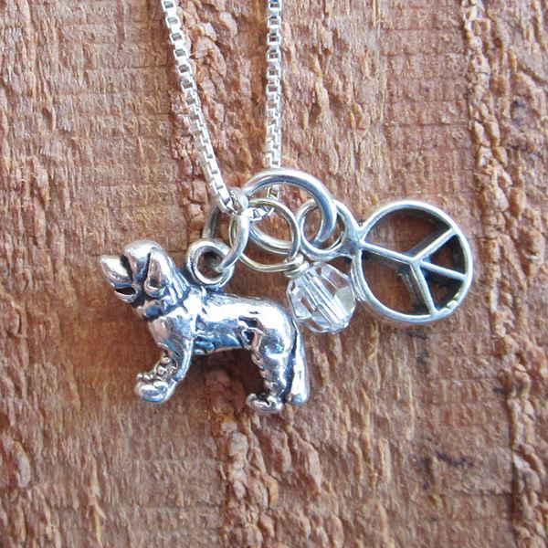 Saint Bernard Mini Peace Sterling Silver Necklace