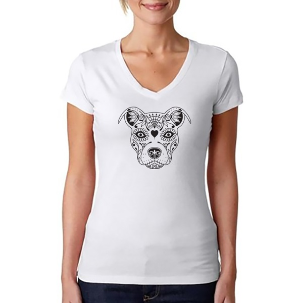 AS IS - Sugar Skull Pit Bull BCBC Ladies V-Neck T-Shirt - White