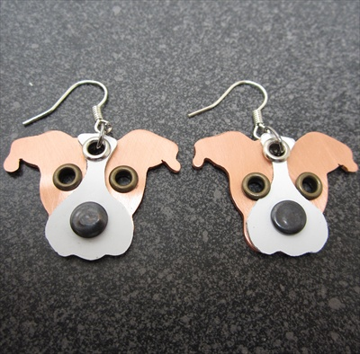 Metal Pit Bull Earrings