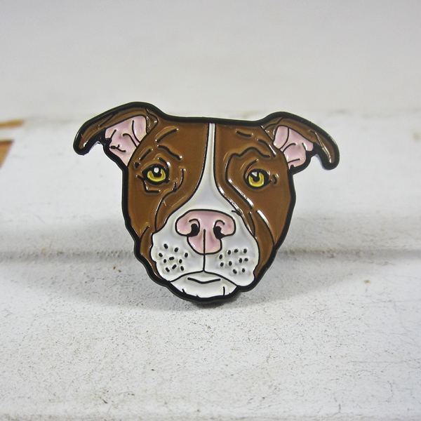 Tan and White Pit Bull Enamel Lapel Pin