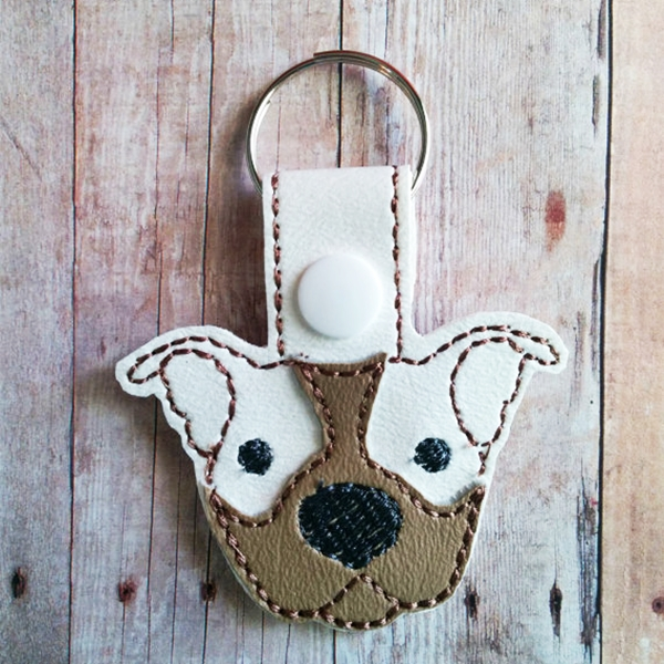 Tan with White Ears Pit Bull Vinyl Snap Keychain