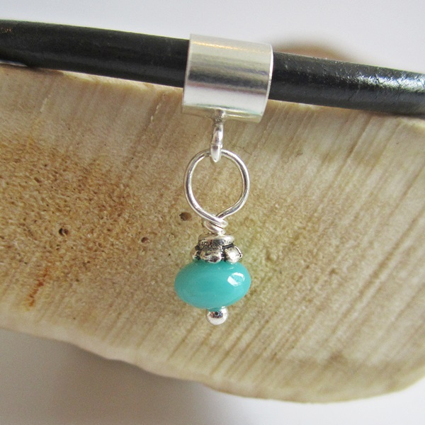 Turquoise 5mm Czech Glass Bead Charm and Bracelet