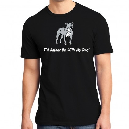 I\'d Rather Be With My Dog Pit Bull Unisex T-Shirt - Black