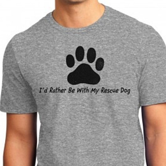 I\'d Rather Be With My Rescue Dog Unisex T-Shirt - Grey - Size Sm