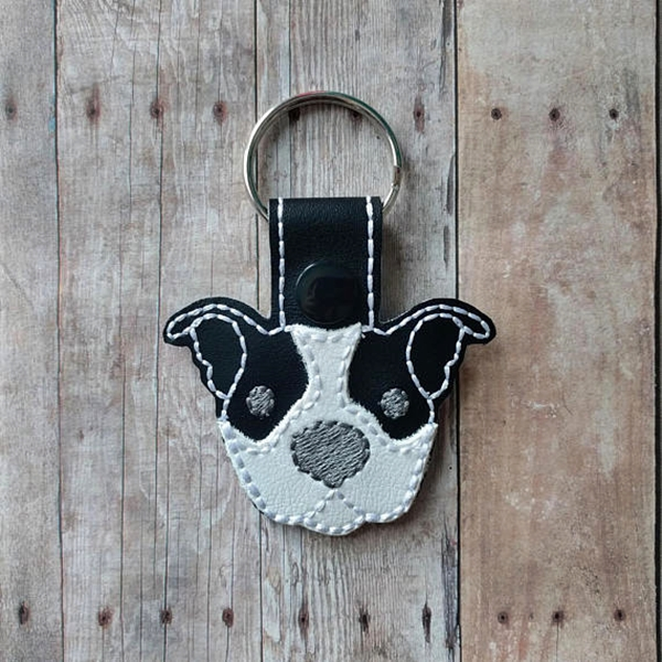 White with Black Ears Pit Bull Vinyl Snap Keychain
