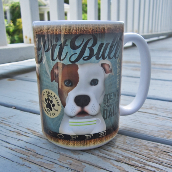 White with Brown Ear Pit Bull Coffee Company Mug