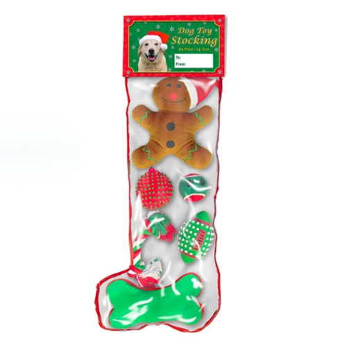 Large Christmas Stocking with 6 Toys for Dogs