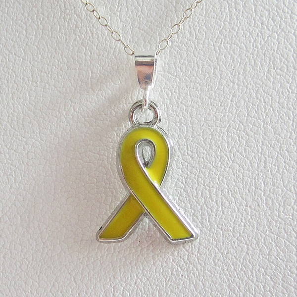 Yellow Enamel Ribbon Pendant Charm and Necklace