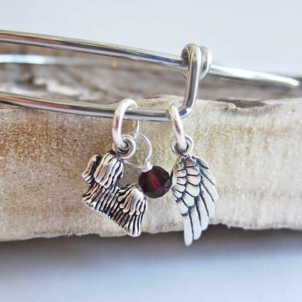 Yorkshire Terrier Mini Angel Wing Stackable Bangle Bracelet