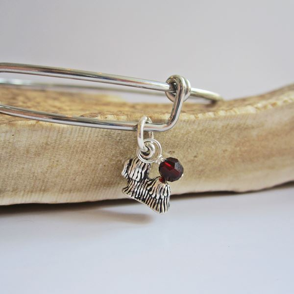 "Yorkshire Terrier Mini Dangle Stackable Bangle Bracelet (2.5""-3\"""